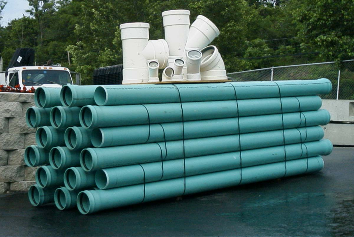 "P.V.C. Sewer Pipe Sizes 4"" Ø through 27"" Ø. Sizes 4"" Ø, 6"" Ø and 8"" Ø Available in Solid or Perforated"