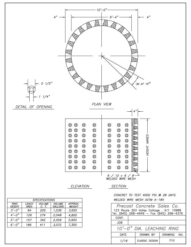 "10'-0"" Dia. Leaching Ring"